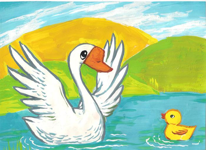 儿童画画 水彩画 丑小鸭和白天鹅儿童画画