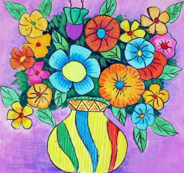 彩色花瓶简笔画 彩色花瓶图片欣赏 彩色花瓶儿童画画作品