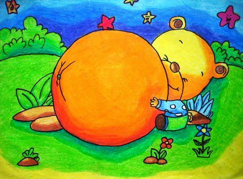 蜡笔画教师_少儿画画作品:丰收的季节