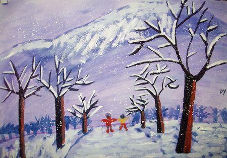 观赏冬天的大山简笔画