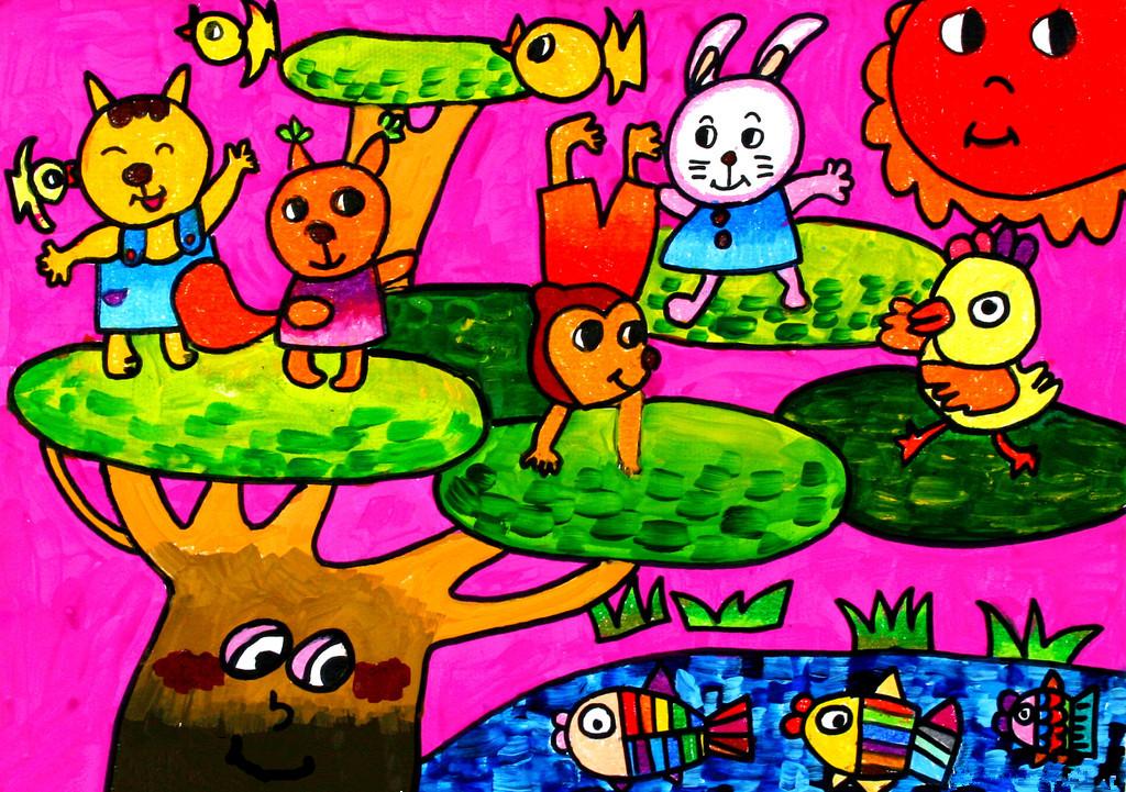 动物的世界简笔画 动物的世界图片欣赏 动物的世界儿童画画作品
