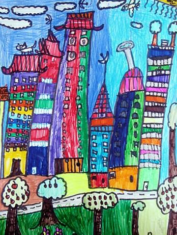 勇者之笛竖笛乐谱图-摩登城市简笔画 摩登城市图片欣赏 摩登城市儿童画画作品