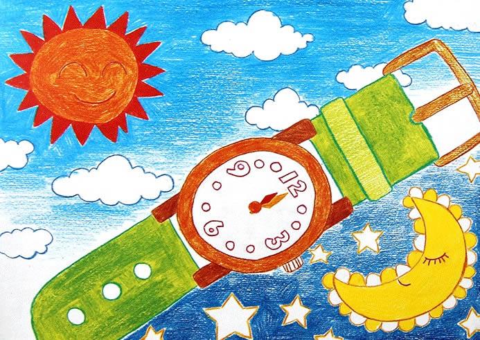儿童画画 水彩画 时间与手表儿童画画