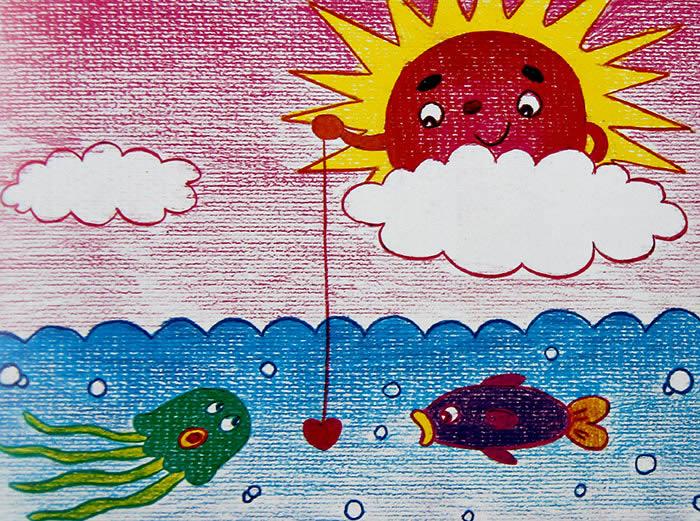 太阳公公去钓鱼简笔画