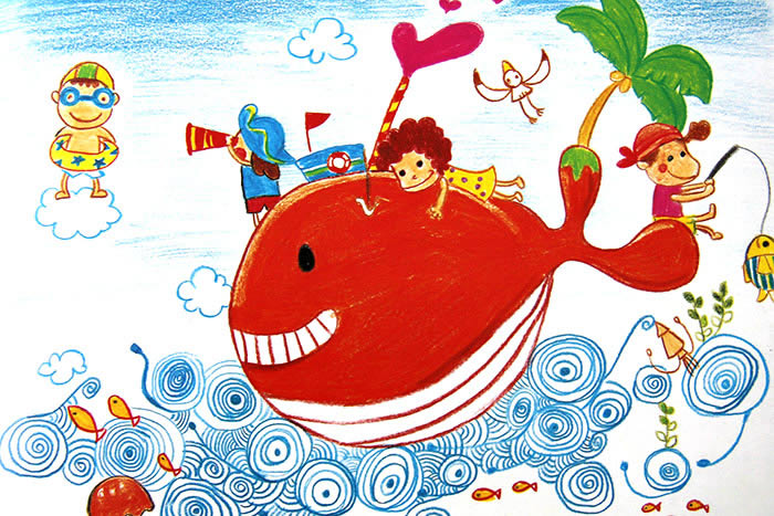 优秀水彩画图片大全:小鲸鱼-少儿兴趣-无忧考网