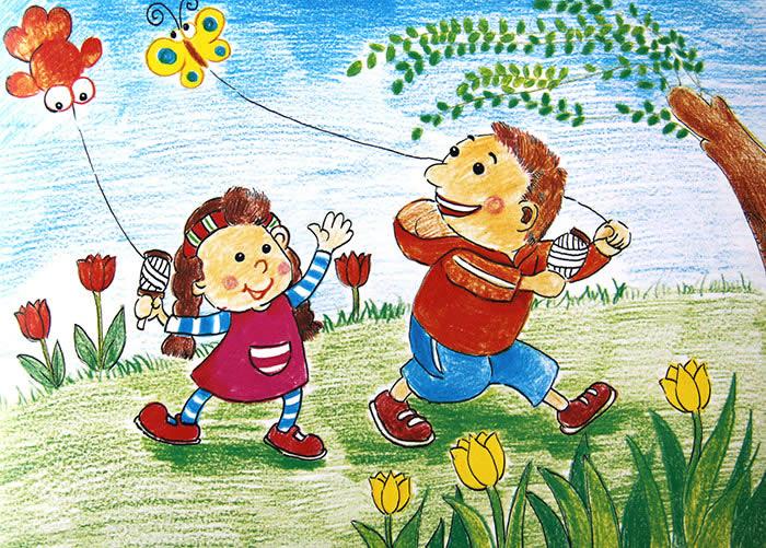 放风筝简笔画 放风筝图片欣赏 放风筝儿童画画作品图片