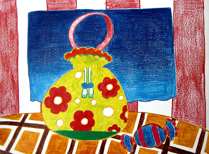 漂亮的手提袋简笔画 漂亮的手提袋图片欣赏 漂亮的手提袋儿童画画作品
