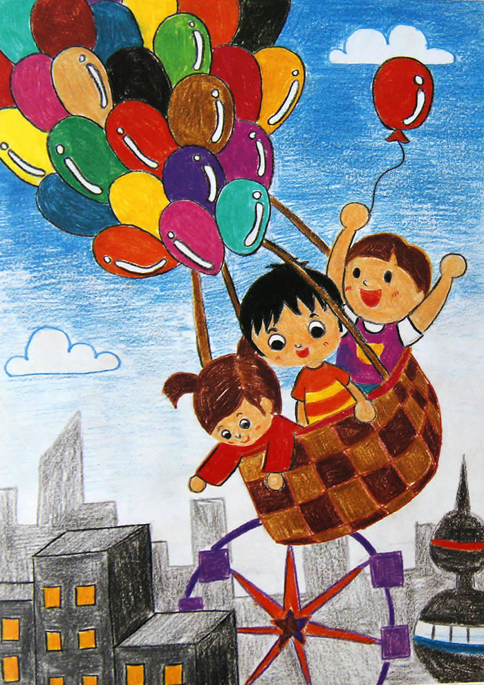 热气球简笔画_热气球图片欣赏