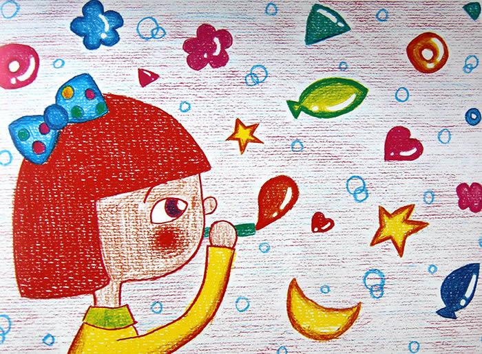 吹泡泡的女孩简笔画