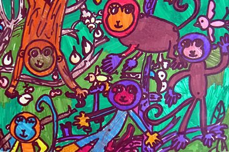 丛林是我家简笔画 丛林是我家图片欣赏 丛林是我家儿童画画作品