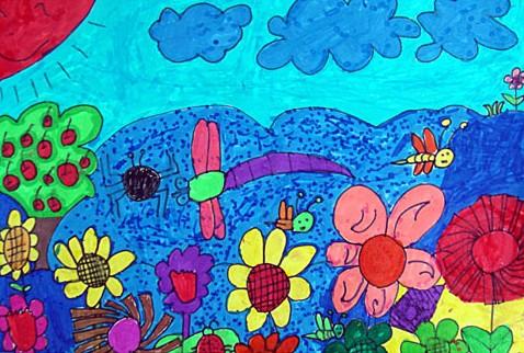 午后花园简笔画 午后花园图片欣赏 午后花园儿童画画作品