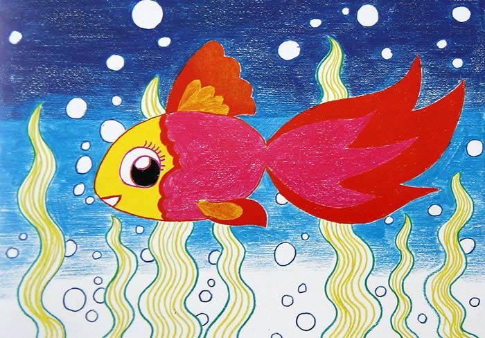 小金鱼简笔画 小金鱼图片欣赏 小金鱼儿童画画作品