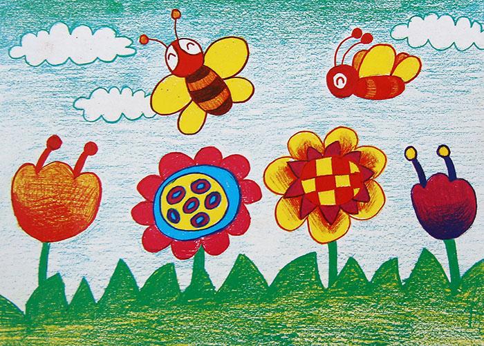 采蜜的蜜蜂简笔画 采蜜的蜜蜂图片欣赏 采蜜的蜜蜂儿童画画作品