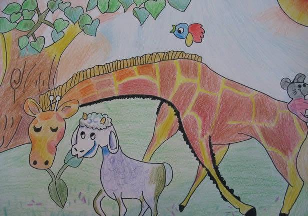 水彩画-小羊和长颈鹿
