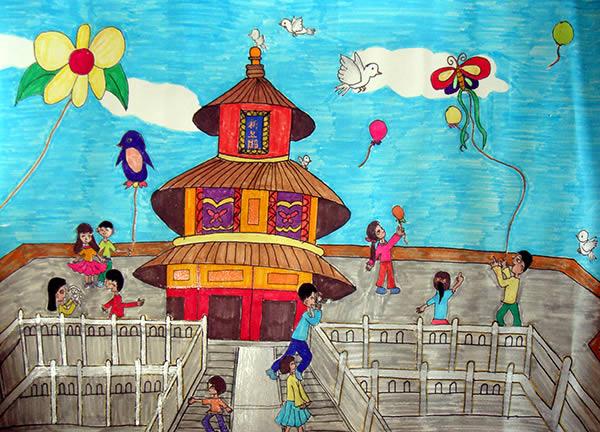 十一出游简笔画 十一出游图片欣赏 十一出游儿童画画作品