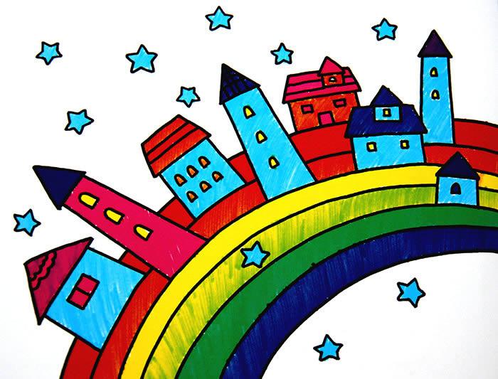 彩虹上的房子简笔画 彩虹上的房子图片欣赏 彩虹上的房子儿童画画作品