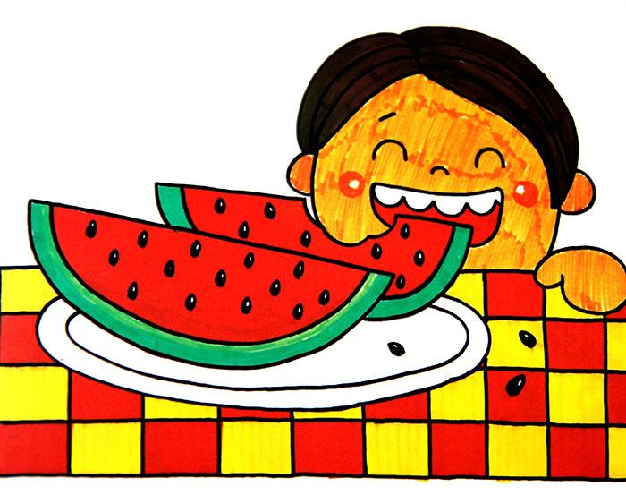 儿童画画 水彩画 美味西瓜儿童画画
