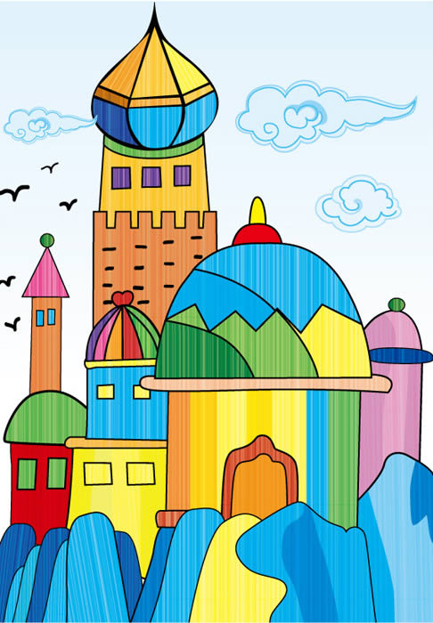 童话 城堡简笔画 童话城堡图片欣赏 童话城堡 486*700 78k jpg-城堡简