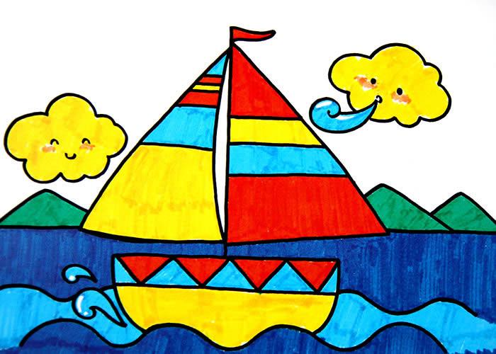 蓝色的帆简笔画_蓝色的帆图片欣赏