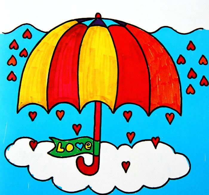 彩虹颜色的雨伞简笔画