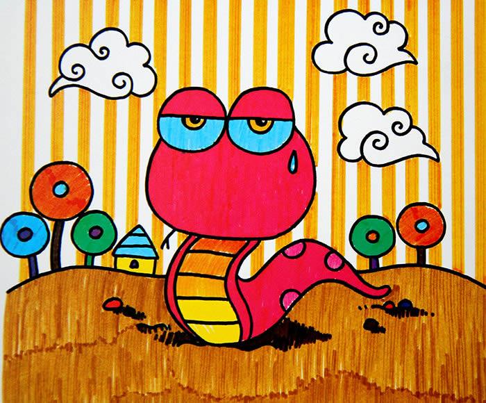 水彩画-可爱的眼镜蛇