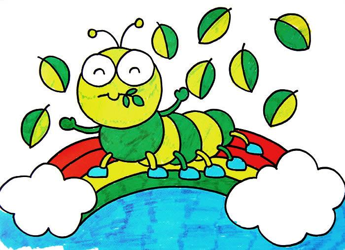 儿童水彩画:毛毛虫-少儿兴趣-无忧考网