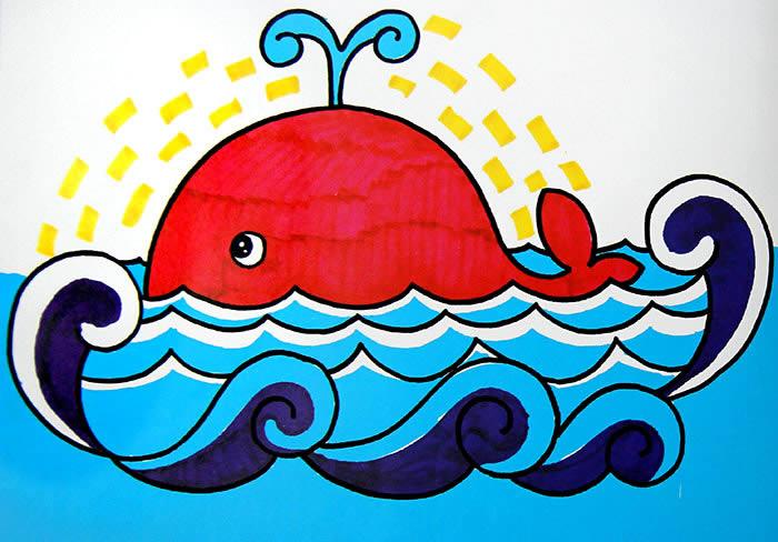 喷水的鲸鱼简笔画 喷水的鲸鱼图片欣赏
