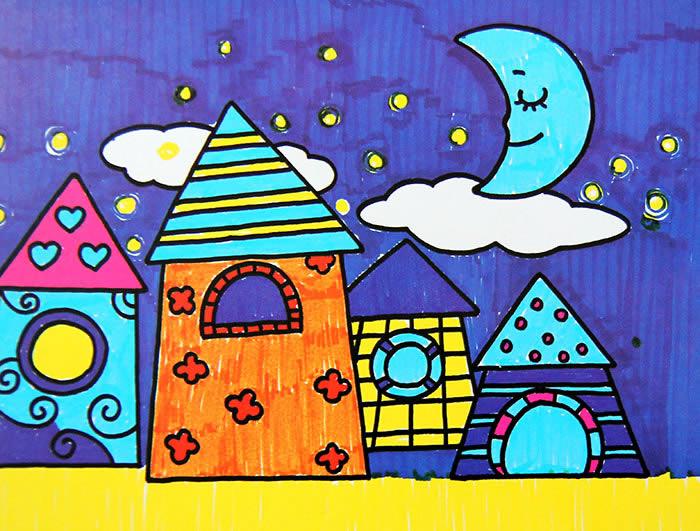 夜空下的小镇简笔画 夜空下的小镇图片欣赏 夜空下的小镇儿童画画作品