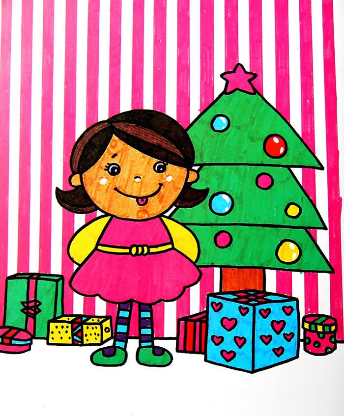 水彩画 幸福的圣诞节