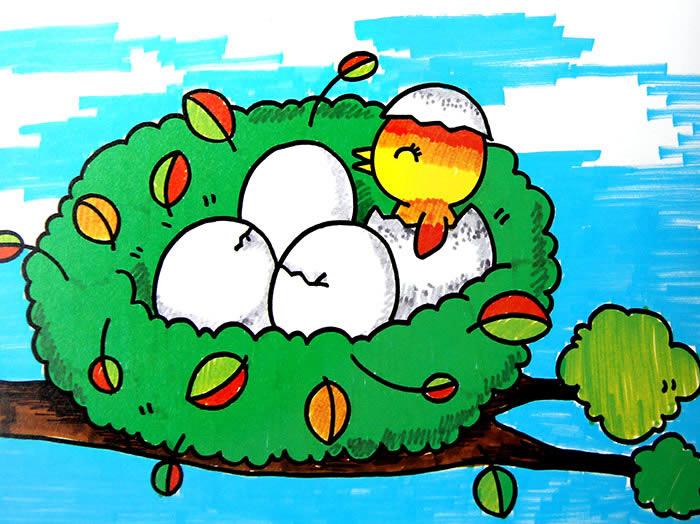 少儿画画作品:鸟巢中的小鸟-少儿兴趣-无忧考网
