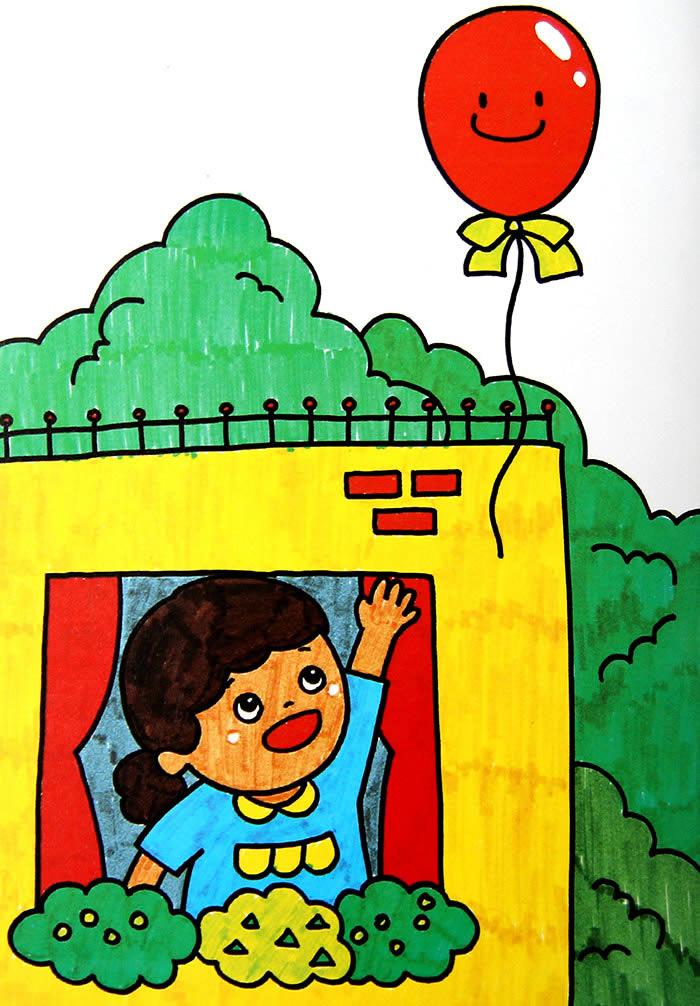 小女孩的气球简笔画_小女孩的气球图片欣赏