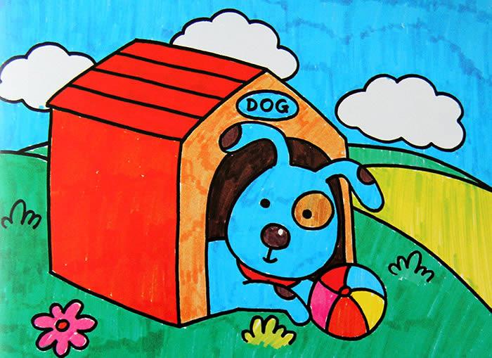 儿童画画 水彩画 小狗的新家儿童画画