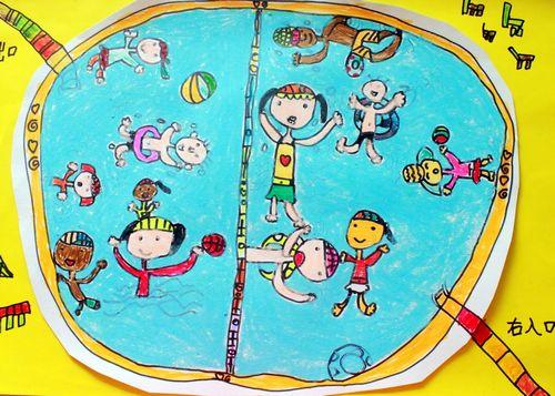快乐的游泳简笔画 快乐的游泳图片欣赏 快乐的游泳儿童画画作品 -水粉图片