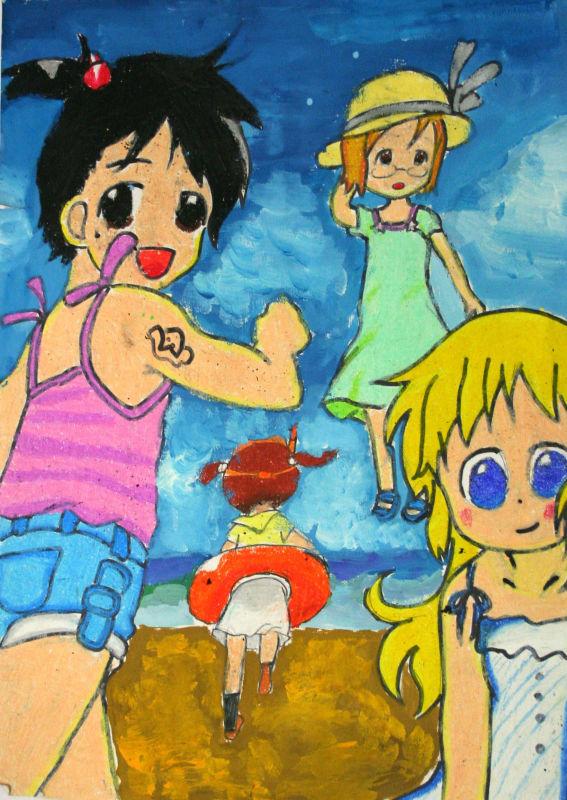一起去旅游简笔画 一起去旅游图片欣赏 一起去旅游儿童画画作品