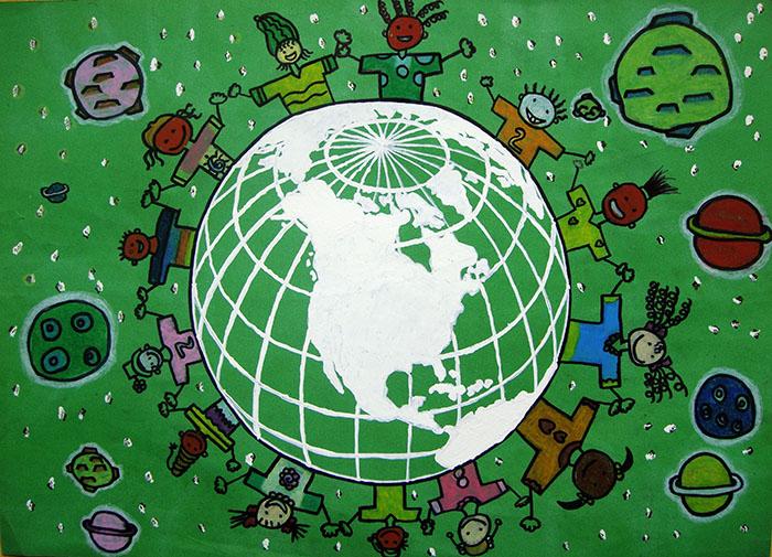儿童画水粉画tuzi-快乐的小兔子图片欣赏 快乐的小兔子儿童画画作品