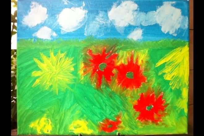 幼儿水粉画入门图片:蓝天白云-少儿兴趣-无忧考网