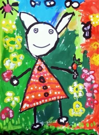 儿童画画 水粉画 快乐的兔子小姐儿童画画