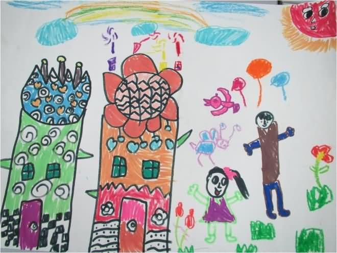花瓶简笔画 花瓶图片欣赏 花瓶儿童画画作品 -水彩画 花瓶