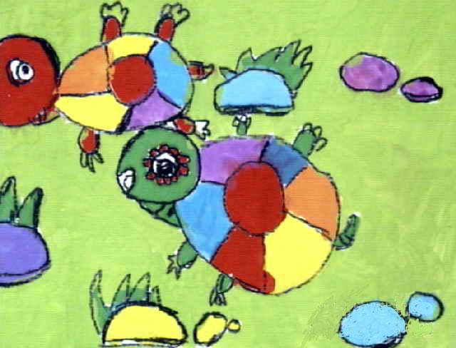 小乌龟简笔画_小乌龟图片欣赏_小乌龟儿童画画作品-有-回头乌龟简笔画