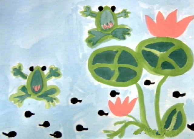 青蛙与蝌蚪简笔画 青蛙与蝌蚪图片欣赏 青蛙与蝌蚪儿童画画作品