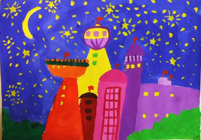 夜空简笔画 夜空图片欣赏 夜空儿童画画作品