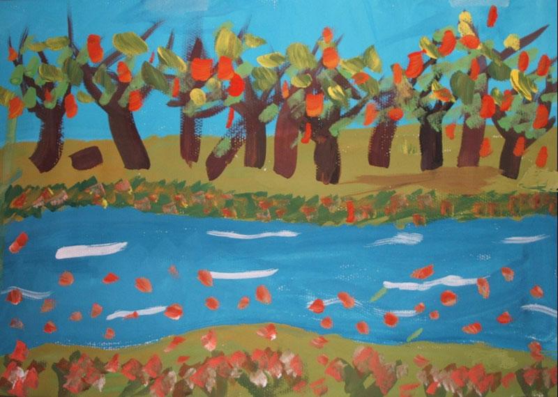 秋叶流水简笔画 秋叶流水图片欣赏 秋叶流水儿童画画作品