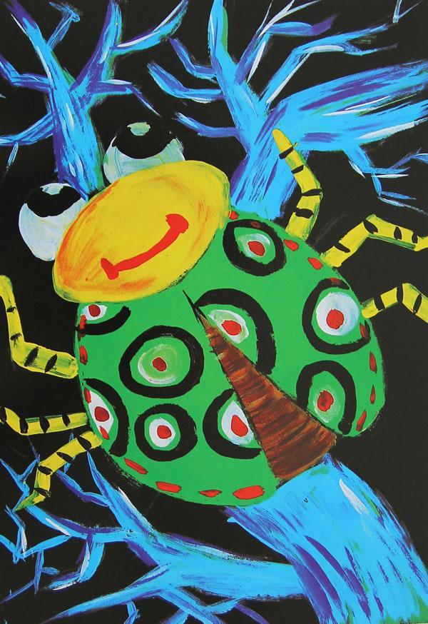 甲壳虫简笔画_甲壳虫图片欣赏_甲壳虫儿童画画作品-有