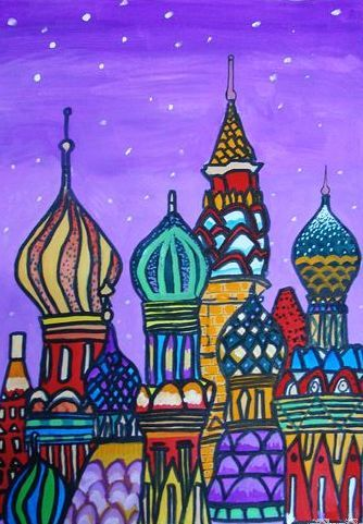 儿童画画 水粉画 可爱的城堡儿童画画