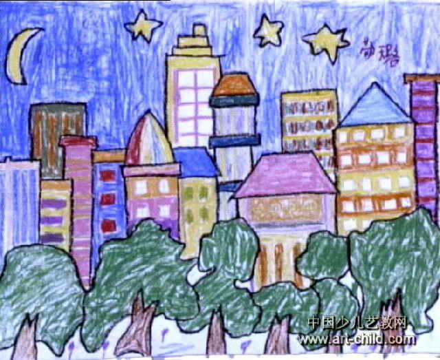儿童画画 水粉画 密集的房子儿童画画