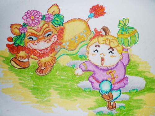 狮子滚绣球简笔画_狮子滚绣球图片欣赏