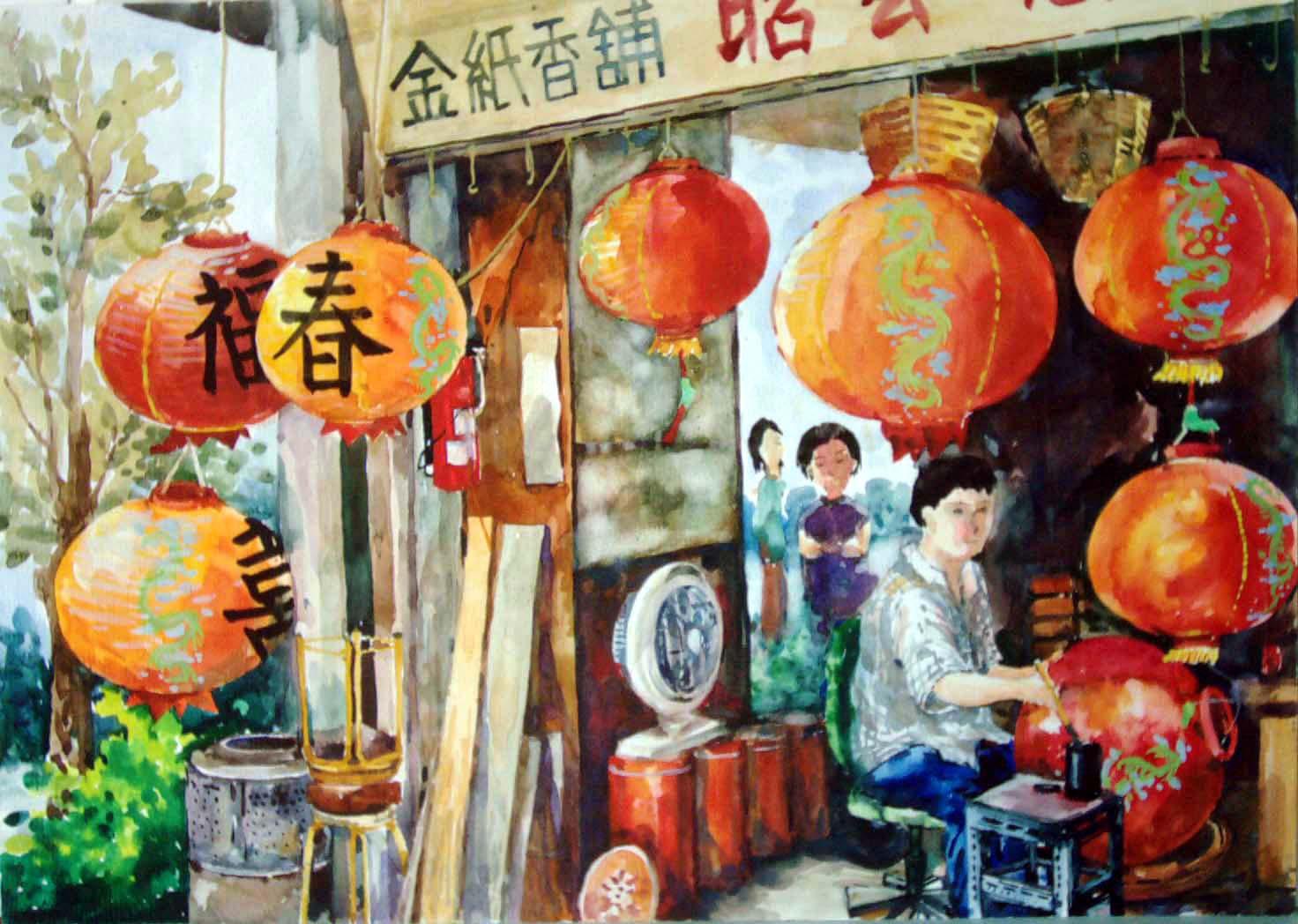《过新年》/少儿绘画作品/儿童画/网络美术馆_   春节简笔高清图片
