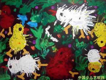 水粉画-可爱的小鸡