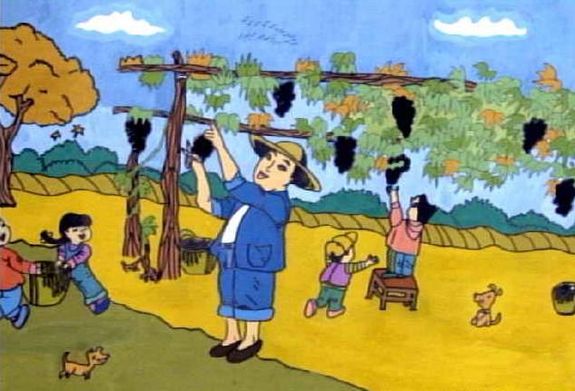 丰收的喜悦简笔画 丰收的喜悦图片欣赏 丰收的喜悦儿童画画作品 -水粉