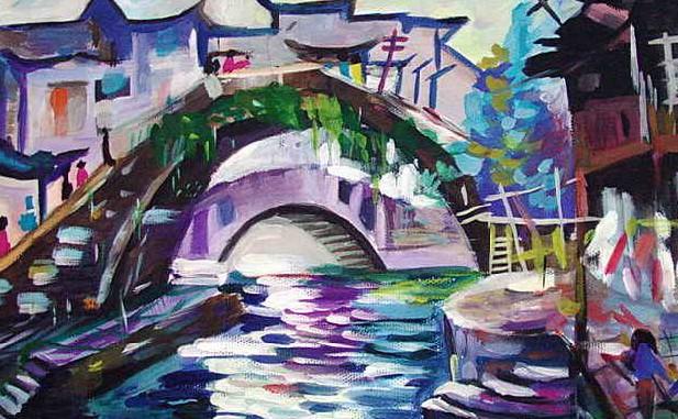 桥简笔画_桥图片欣赏_桥儿童画画作品-有伴网